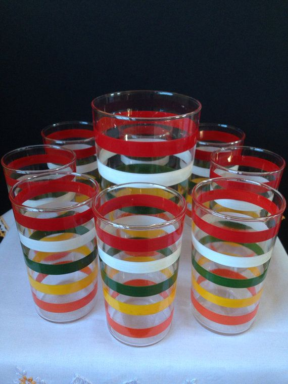 Anchor Hocking - Glassware - Tumblers and Cocktail Shaker - Stripes - Multi-colored - 1950's  on Etsy, $48.00