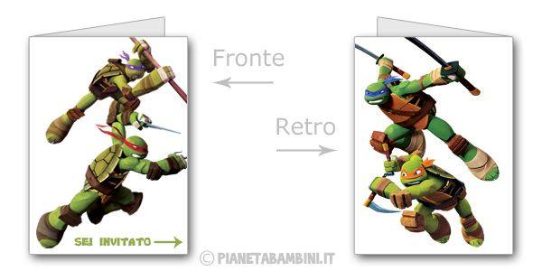 Biglietti delle Tartarughe Ninja da stampare gratis n.4