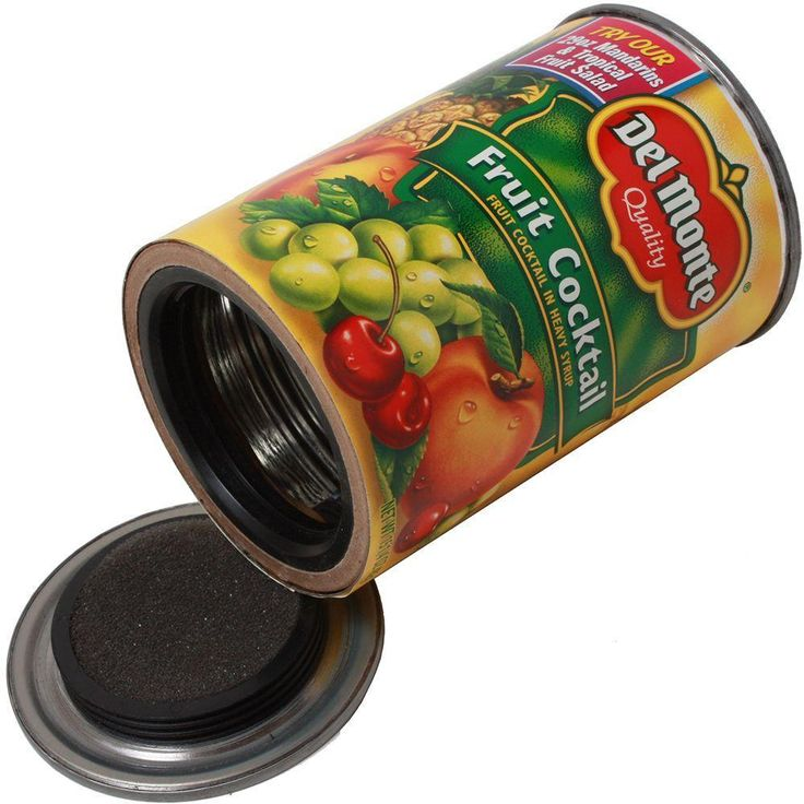 This can safe is constructed from an actual Del Monte Fruit Cocktail can. It is designed to conceal your valuables in any environment. This can easily blends in with surrounding household products, keeping your goods safe from intruders. Other products available, in case fruit cocktail seems implausible.