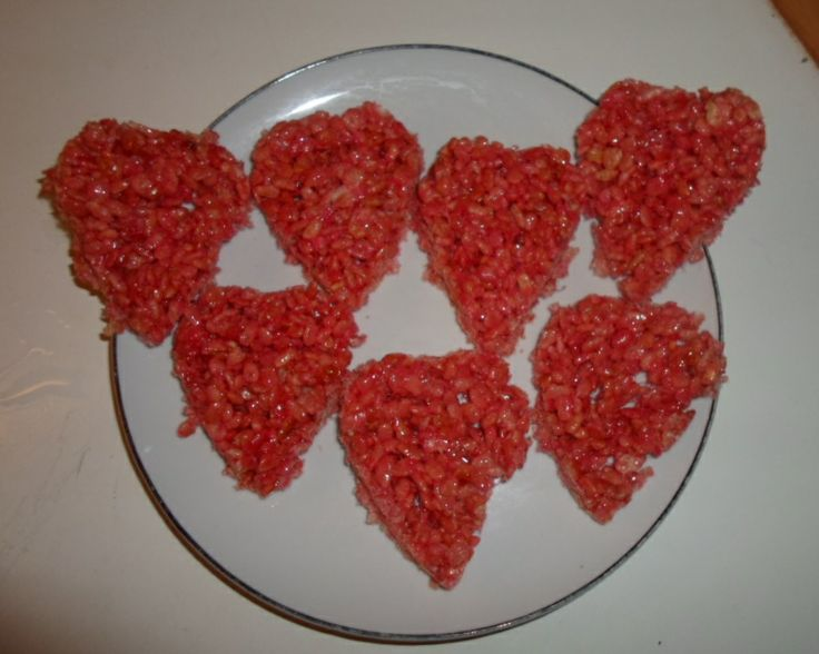 Red heartshaped rice krispies cakes. Perfect for valentine.