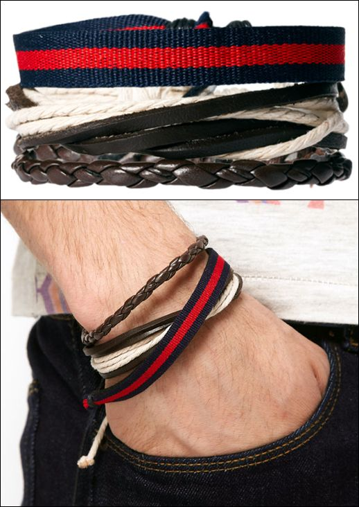 GARCON MENS STYLE FASHION BLOG  River Island Bracelet Pack STRIPE LEATHER WOVEN JEWELRY