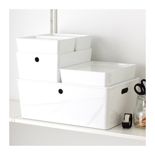 "Storage - KUGGIS Box with lid - price varies - 14 ½x21 ¼x8 ¼ "" - IKEA  For storing yours and Mike's smaller things"