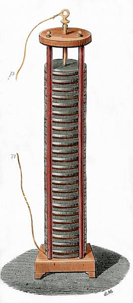 Voltaic pile invented by the italian physicist Alessandro Volta Colored engraving