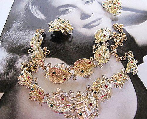 Vintage, Leaf Design, Necklace, Earrings & Bracelet Set- Christmas Occasion, DISCOUNTED by DesignerShowcase on Etsy