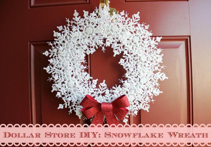 Dollar Store DIY: Snowflake Wreath - My attempt at a snowflake wreath made with all dollar store materials.