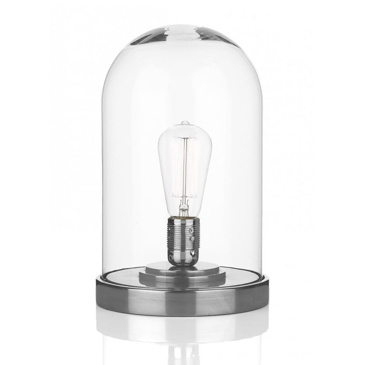 David Hunt Lighting JEF4267 Jefferson Vintage Retro Table Lamp in Pewter and Clear Glass