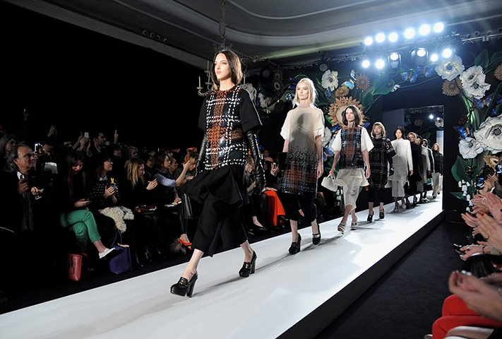 Models walk the runway during the Mulberry Autumn Winter 2013