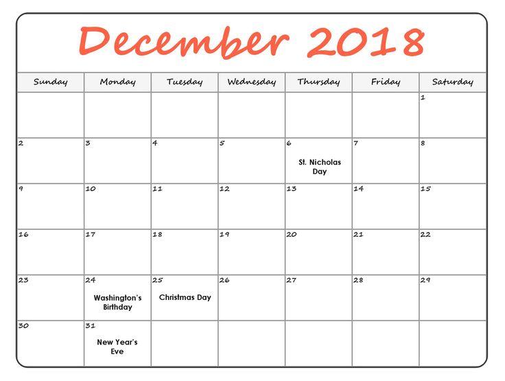 Calendar December 2018 Jan 2019 December 2018 Calendar December