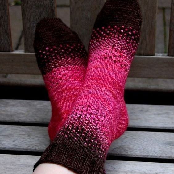 There & Back Again Socks by Dawn Cottone. malabrigo Sock in Chocolate Amargo and Light of Love colorways. Pattern here: http://www.ravelry.com/patterns/library/there--back-again-socks-2