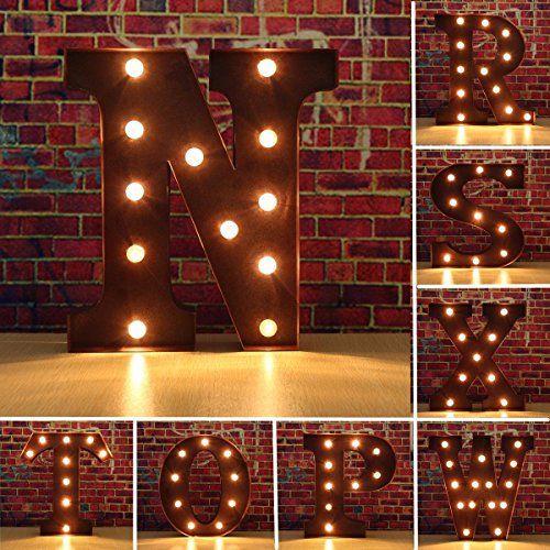 SOLMORE 23CM x 5.5CM LED Letter Light DIY Vintage Metal Sign Carnival Wall Marquee Lights Decoration