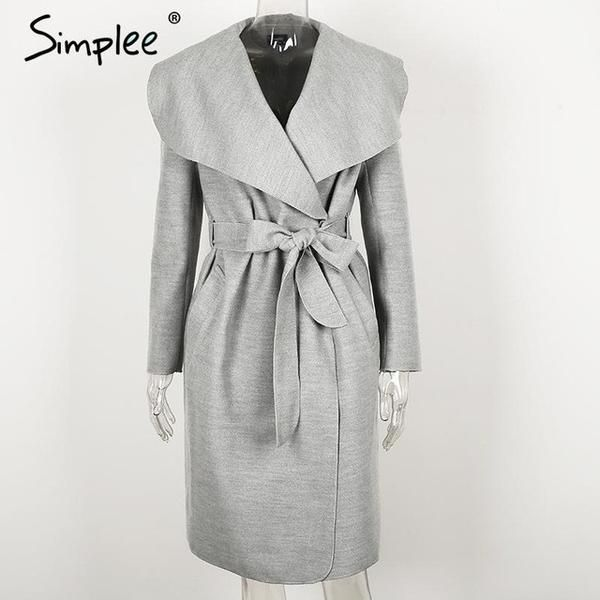 SIMPLEE Women Turndown Long Coat Collar OW326-Women's Jackets & Coats-Enso Store-Camel-S-Enso Store