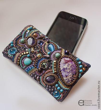 "For phones handmade.  Case ""Fantasy"".  Elizaveta Antonova.  Fair Masters.  Mobile phone, gift, rhinestones"