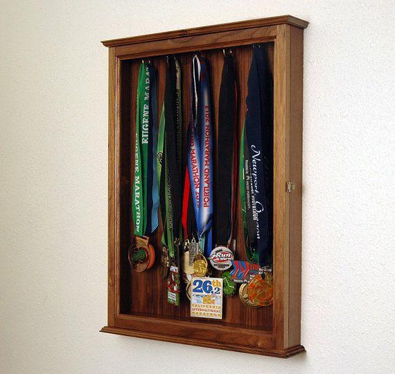 Walnut Marathon Medal Display Case Cabinet-Large