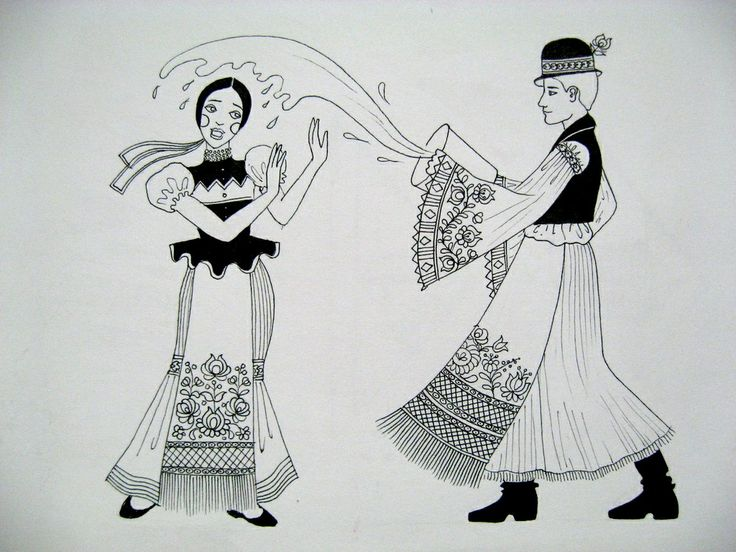 Drawing of a  Matyo couple celebrating Easter