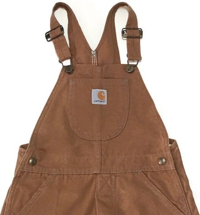 Carhartt Bib Overalls Boys 5 Button Fly Double Knee Canvas Brown Y11BRN 24W 19L  | eBay