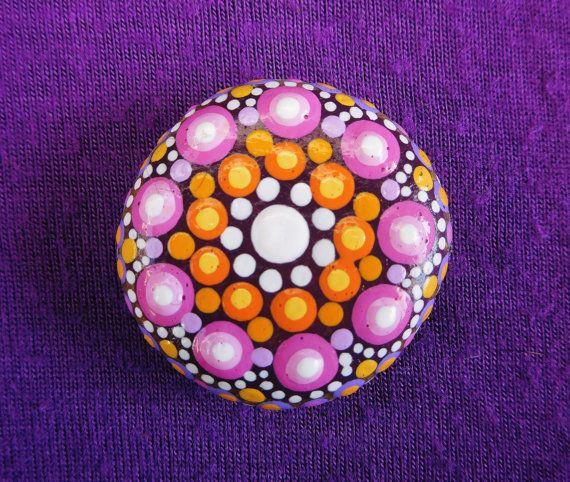 Mandala Stone  Hand painted  Dotillism  by StripeyCatsStudio