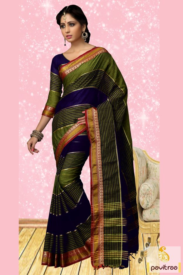 Feel fresh by wearing this green and cobalt blue cotton saree online shopping with lowest rate. It is festooned with lining and zari work border on saree. #sarees, #casualwearsaree, #casualsaree, #onlinesareeshopping, #cottoncasualsaree, #discountoffer, #pavitraafashion, #utsavfashion, #lowestpricesaree, #lacepatticasualsaree, #sareewithblouse http://www.pavitraa.in/store/casual-saree/ callus:+91-7698234040
