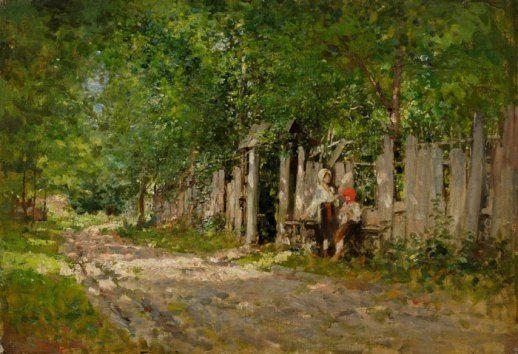 Nicolae Grigorescu -Fete lucrand la poarta