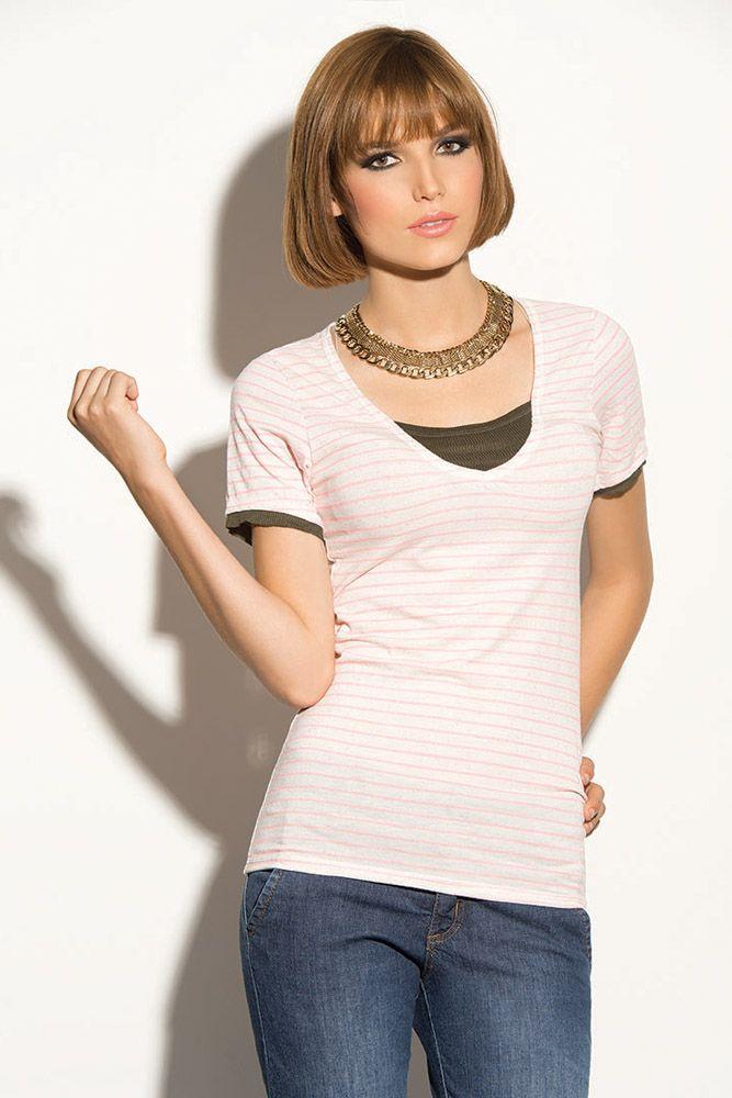 Camiseta rayas simulación doble prenda