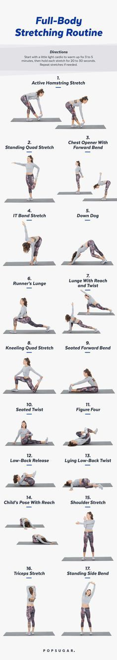 Stretching is the best way to care for tired muscles. This sequence of 17 stretches with lengthen your entire body and leave you feeling energized.