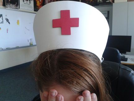 Picture of how to make a female nurse hat