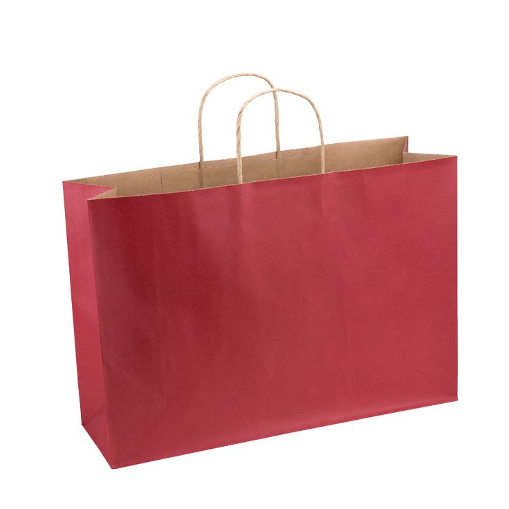 Paper Bag Extra Large Wide 420w x 130d x 310h Red pack 100 - Surestyle Limited
