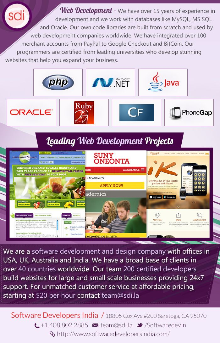 We are a software development and design company with offices in USA, UK, Australia and India with over 15 years of experience in development. Web Development services at affordable price, starting at $20. To know more visit at: http://www.softwaredevelopersindia.com/web-design-development.html