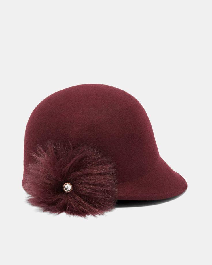 Faux fur pom-pom hat - Maroon | Hats | Ted Baker