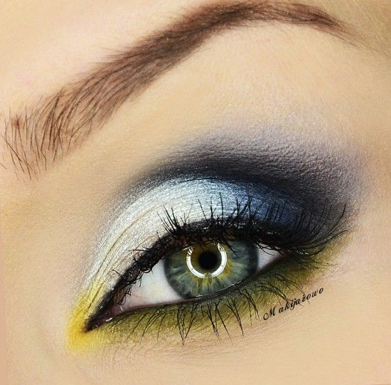Black, white and yellow eyeshadow #eyes #eye #makeup #smokey #dramatic