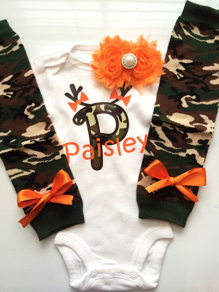 Baby Girl CAMO Hunting outfit -camo leg warmers - legwarmers - hunting baby - baby photo prop - personalized baby girl outfit by AboutASprout on Etsy https://www.etsy.com/listing/170517190/baby-girl-camo-hunting-outfit-camo-leg