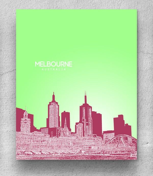 Melbourne Australia Skyline Poster / Destination Travel Art Poster / Any City or Landmark. $20.00, via Etsy.