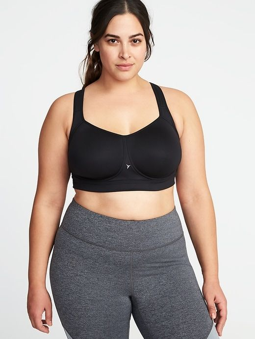 dd7afbd8efe Old Navy Women s High-Support Plus-Size Mesh-Racerback Sports Bra Black Plus