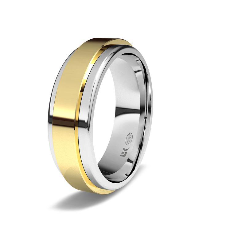 Sortija de oro blanco y amarillo de 18K modelo Giratoria fija #alianzas, #anillosdeboda, #boda, #novias www.cnavarro.com
