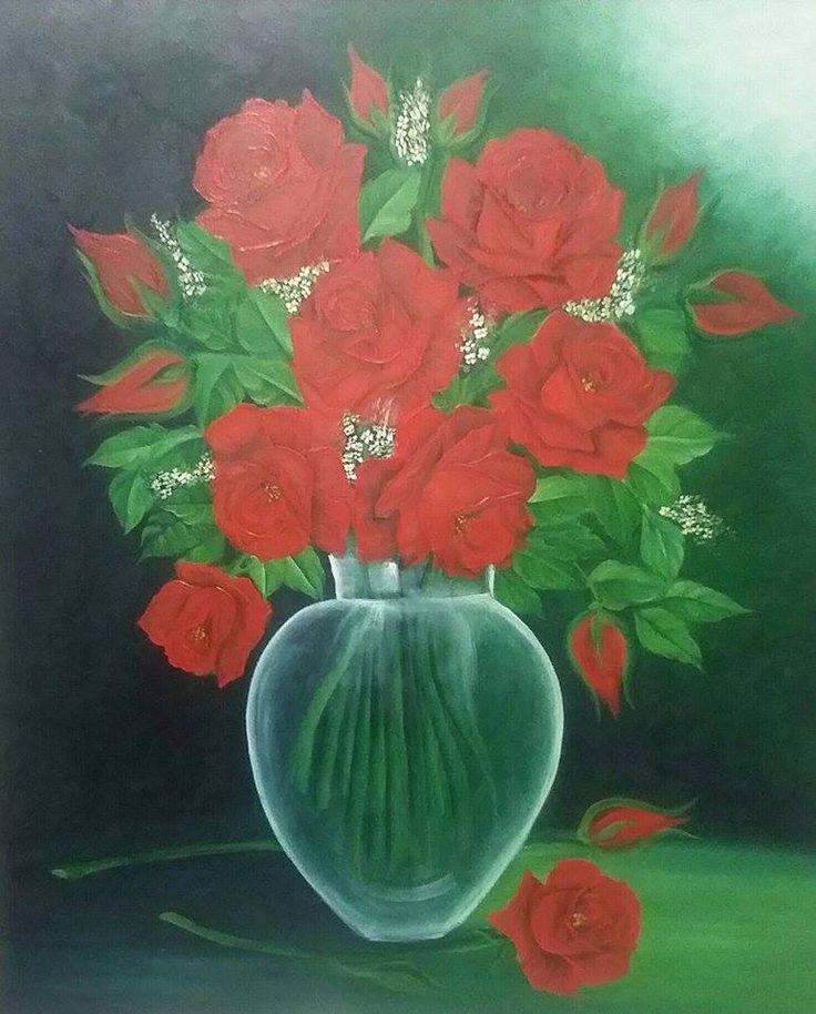 Pintura a óleo jarro de rosas.