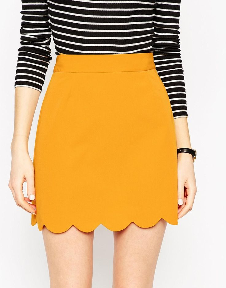 Image 3 of ASOS A-Line Mini Skirt with Scallop Hem