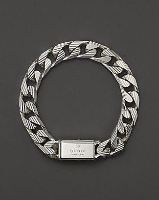 "Gucci Men's Trademark Stripes Link Bracelet, 8""   Bloomingdale's  Follow us on #facebook:  https://www.facebook.com/westfieldsanfranciscocentre"
