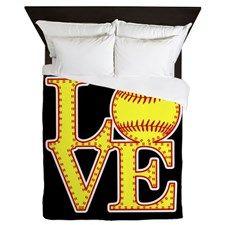 Love Softball Stitches Queen Duvet for