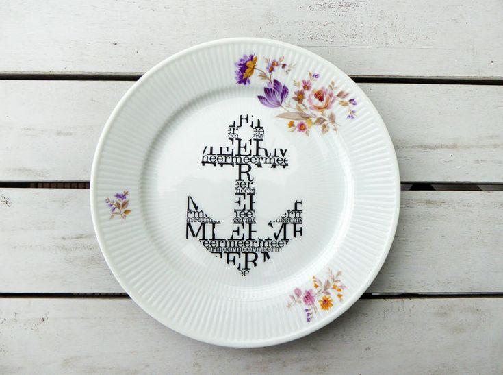 Wand und Dekoteller Vintage 20cm Typo Anker Deko Wandteller Blumen handgedruckt Herr Fuchs Wallplate Ceramics Teller