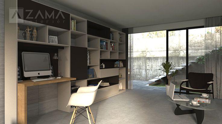 Domáca pracovňa kombinovaná s dizajnovou knižnicou