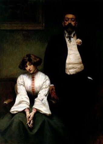 Portrait de Colette et Willy par Eugène Pascau (Salon de la Société des artistes français, 1903; reproduit dans la Revue Théatrale, mai 1903)