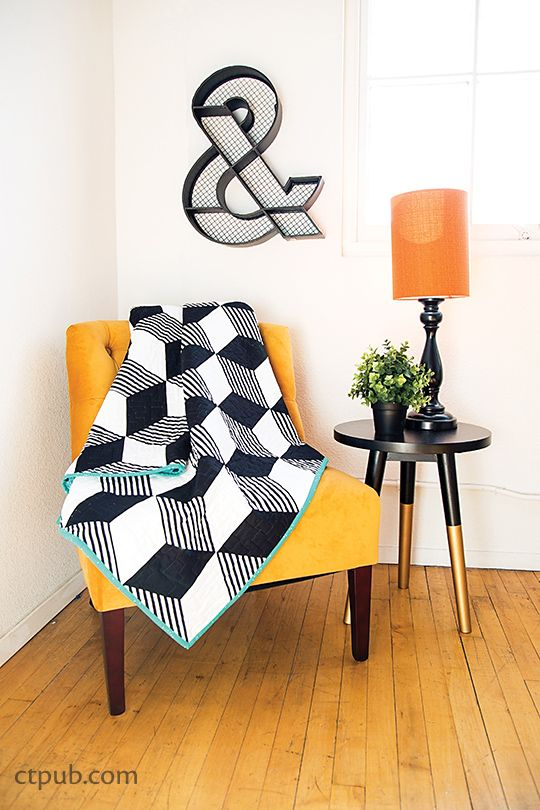 In Stripe Quilts Made Modern, Lauren S. Palmer shows us many different stripe and color pairing techniques that are sure to make your projects pop. Some of her stripe quilts are vibrant and really draw attention. Others are classy and subtle. With a bit of precise cutting, you can let the pattern on the fabric do the illusion work for you. Escher is my favorite quilt in this book I love Lauren's use of stripes to spice up a classic Tumbling Block. It's amazing ho...