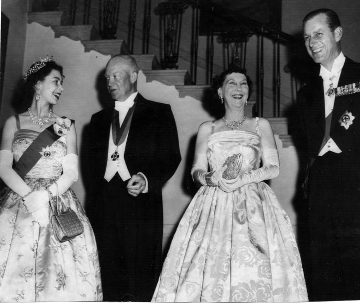 On the Queen's first state visit to America in 1957 President Eisenhower & Mamie Eisenhower were her host. http://firstladies.c-span.org/