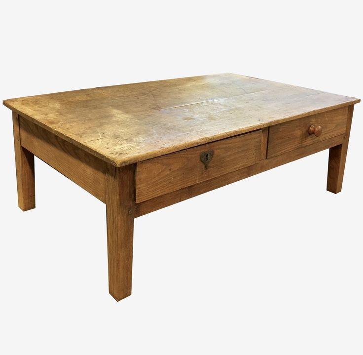 Rustic Antique Country French Ash Coffee Table with Drawers - Inessa Stewart's Antiques