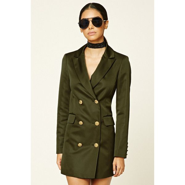 Forever21 Double-Breasted Satin Jacket ($33) ❤ liked on Polyvore featuring outerwear, jackets, olive, forever 21, satin jackets, forever 21 jackets, green military jacket and long sleeve jacket