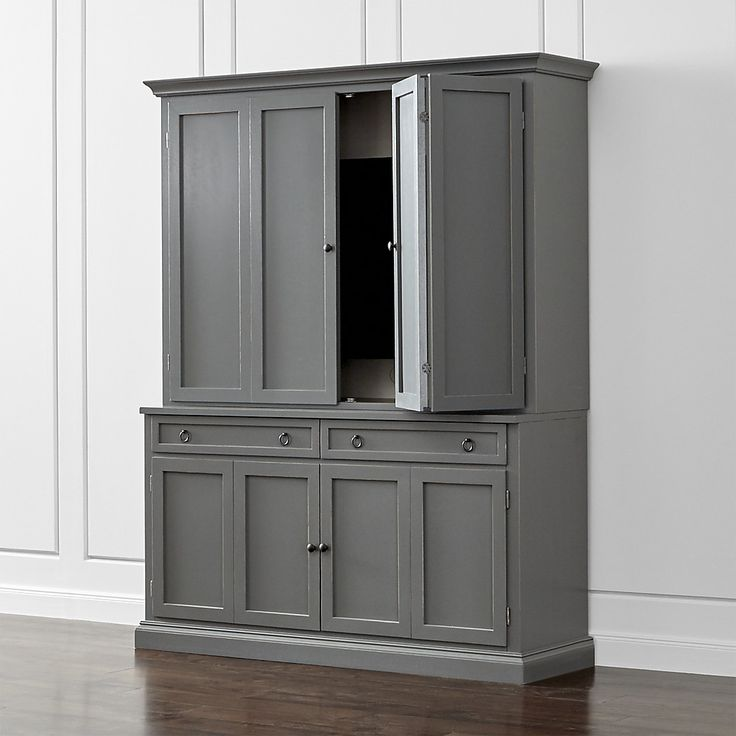 Shop Cameo 2-Piece Grey Entertainment Center.   This modular TV stand with double bi-fold doors and two storage drawers supports the media/TV hutch with crown molding, adding height and drama to media configurations while concealing the TV when closed.