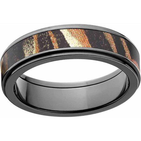 Mossy Oak Shadow Grass Men's Camo Black Zirconium Ring with Polished Edges and Deluxe Comfort Fit, Size: 8.5