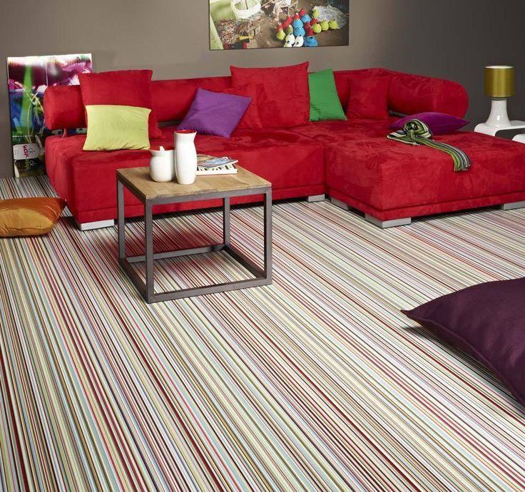 Quality Non Slip Avenue Bubblegum Vinyl Flooring Multicoloured Stripes 75