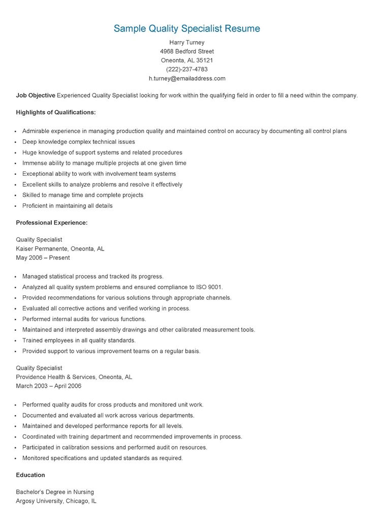 sample quality specialist resume resame pinterest resume