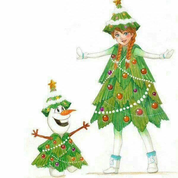 Anna & Olaf as Christmas Tree's for the school Play