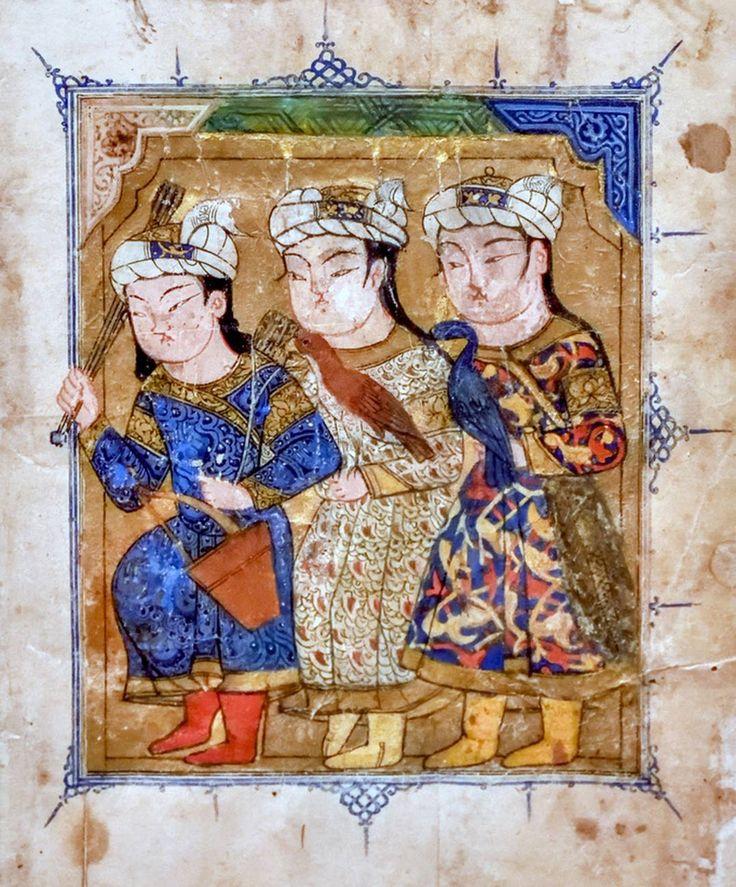Türk Memluklu Minyatür. Türk Kuşçu ve elinde bir yay ve üç ok bulunan Avcı İkonografisi..13-14.yy.